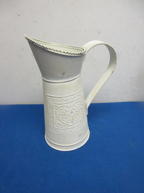 """White tin pitcher with large handle 9.5"""" high"""