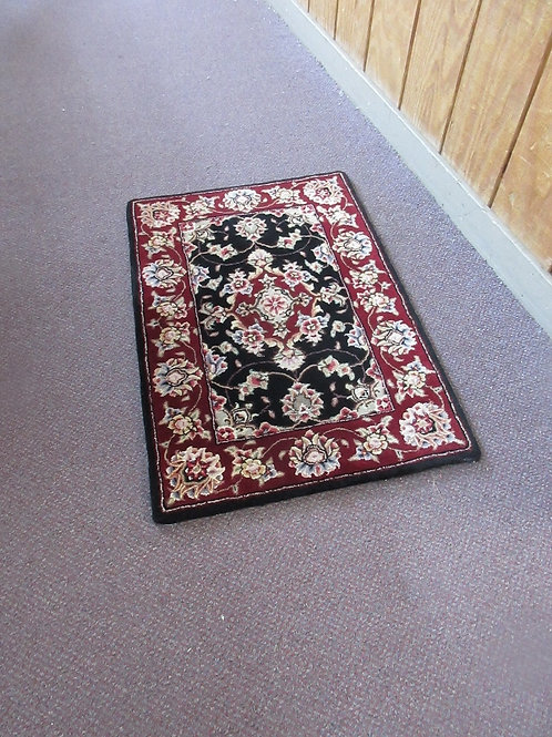 Burgundy and black 100% wool thick throw rug - 30x20