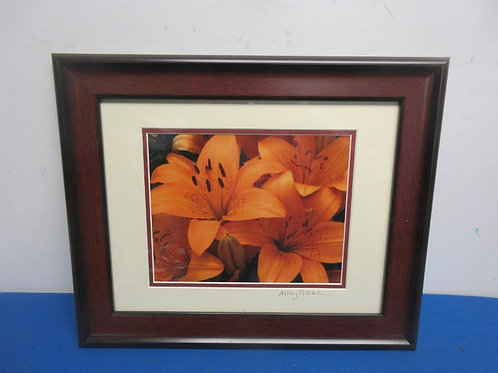 Close up framed photo of orange day lillies, cherry tone frame, 14x17