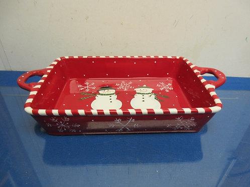 Red and white snowman theme 9x12 baking pan