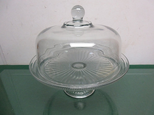 """Clear glass pedestal cake dish with glass dome lid, 11"""" dia"""