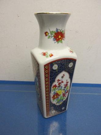 """Square floral design Asian vase 10.5"""" high"""