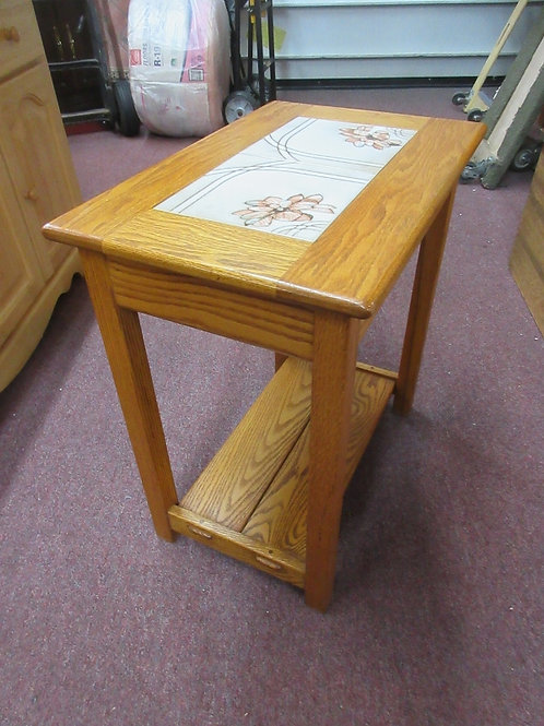 Solid oak end table with ceramic tile inserts- floral design - 15x22x24
