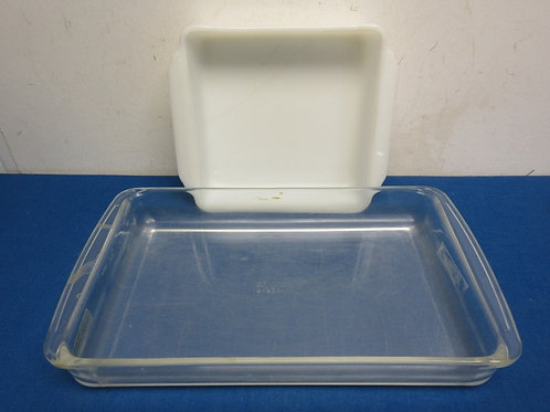 Pair of baking dishes, fireking 8x8 and pyrex 9x13