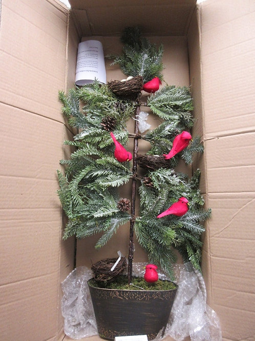 "Valerie Parr Hill 36"" slim cardinal tree with nests & pinecones,"