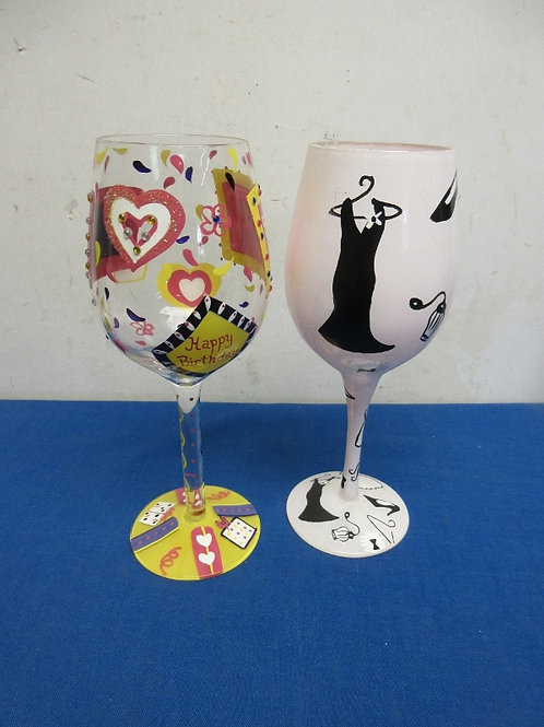 Pair of hand painted wine glasses