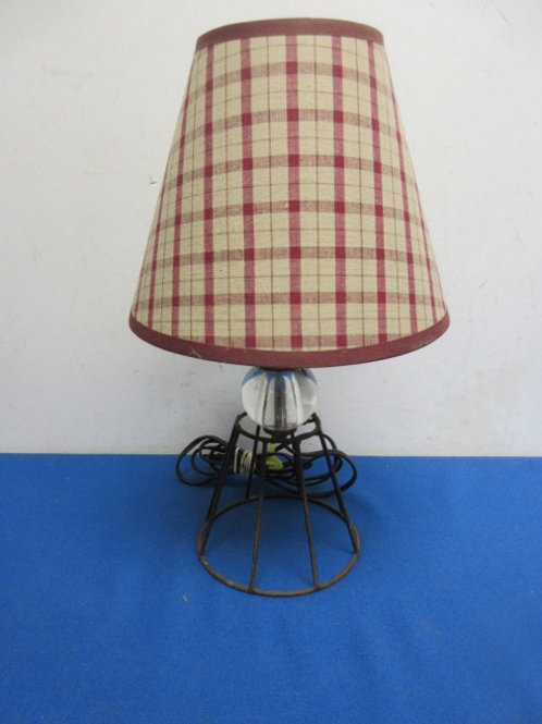 """Metal and glass small tabletop lamp with red plaid shade, wear, 13"""" tall"""