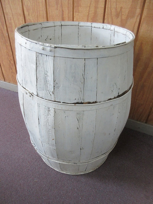 Vintage rustic white painted wood barrel  w/metal straps 20x29""