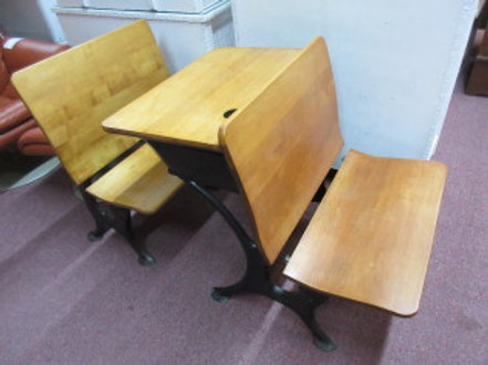 Antique student row desk set with ink well & cast iron frames