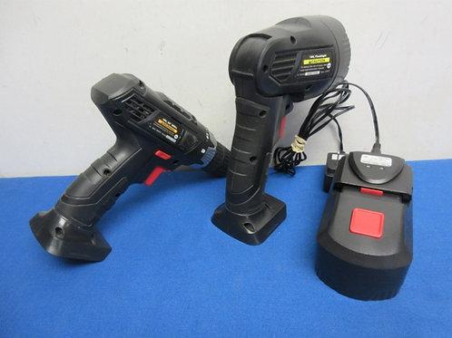 Drill master cordless 3/8 drill, flashlight, 1 batteryand charger