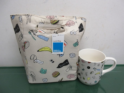 Room Essentials insulated lunch bag w/matching large ceramic mug, both new