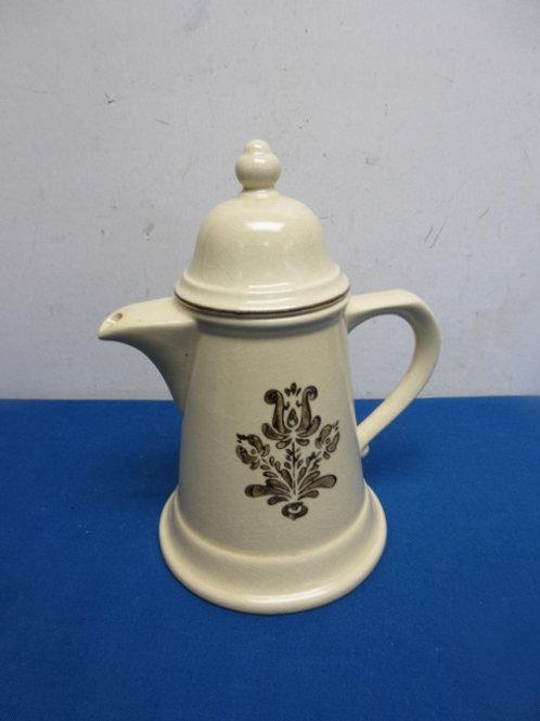 Pfaltzgraff large ivory & brown ceramic pitcher w/lid