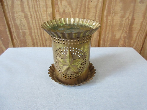 Handmade punched metal goldtone candle powered scented wax melter