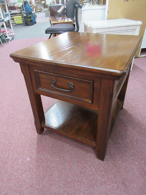 Cherry tall end table with bottom shelf and drawer