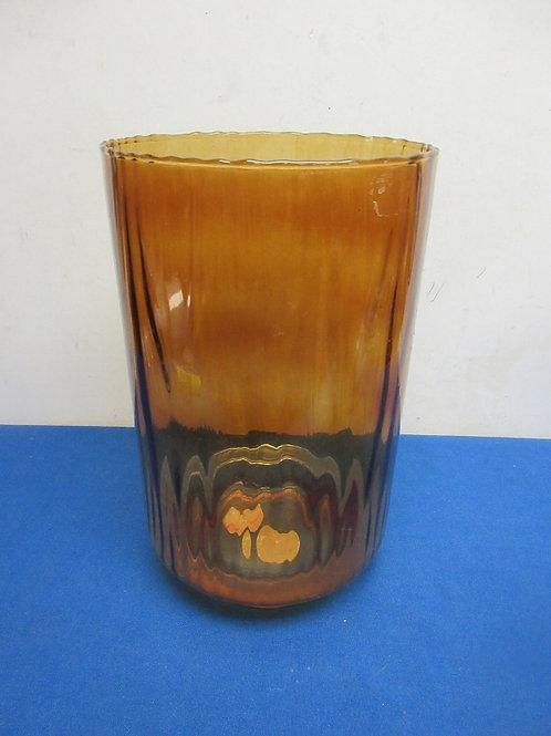 "Large amber glass cylinder vase 7""dia x 12""high"