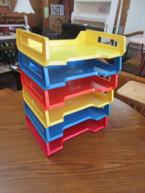 Rodgers colored desk top stackable paper organizer, set of 6