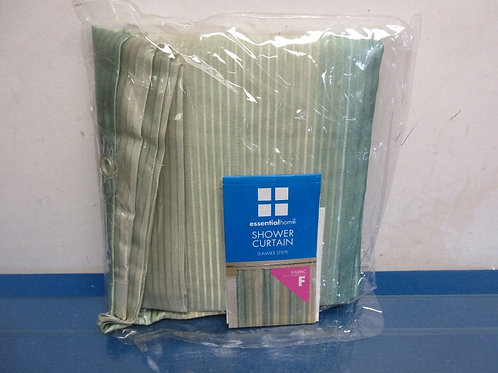 Essential home shower curtain, Green stripe