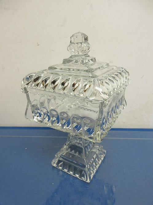 Square pedestal heavy glass canister with lid