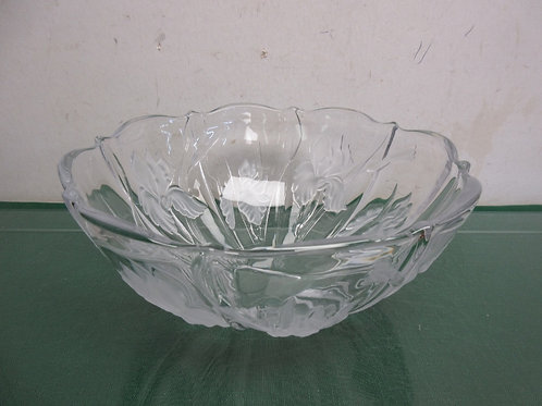 """Glass salad bowl with iris etched design 10"""" dia x 4.5""""tall"""