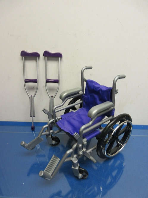 """Purple and gray wheelchair and crutches set for 18"""" doll"""