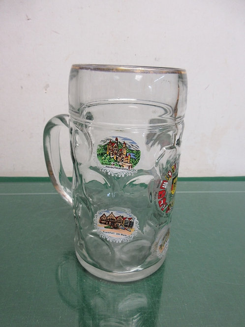 "Large heavy glass German beer mug with scenes of Germany, 8""tall"