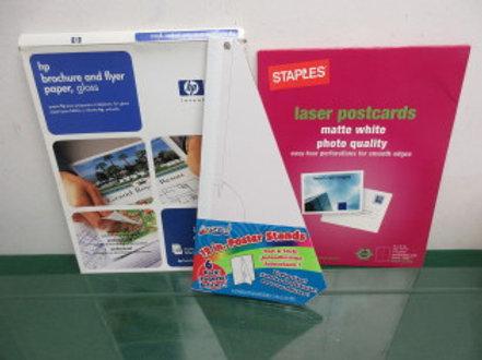 Set of brochure/flyer paper, laser postcards and poster stands