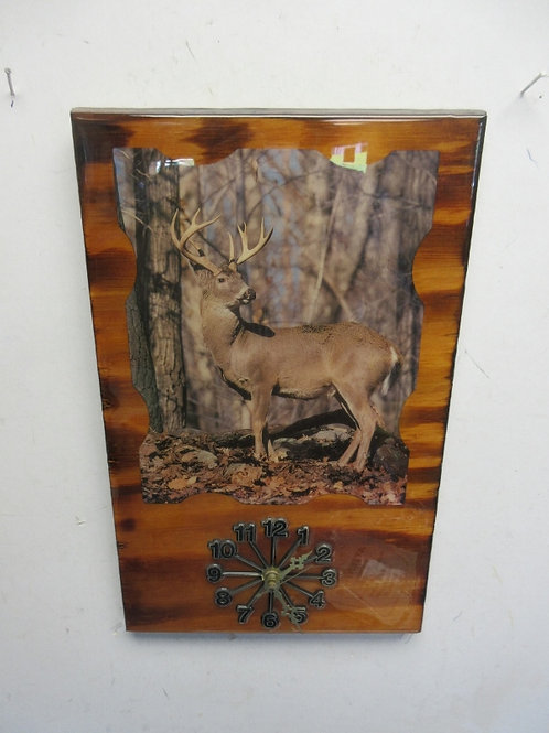 Laquered deer design wall hanging with clock - 10x15