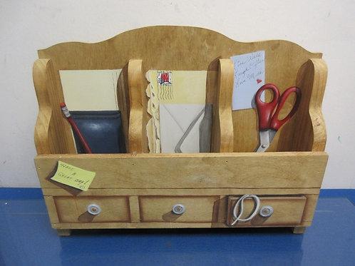 Handmade handpainted 3 slot letter organizer with peg hooks for keys