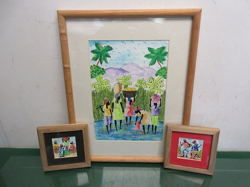 "Set of 3 framed African watercolor prints, one  is 12x15"" two small 5x5"""