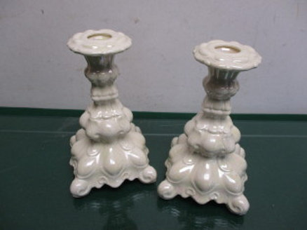 """Pair of iridescent 7"""" candle holders"""