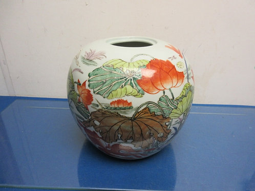 Asian style round vase with narrow opening