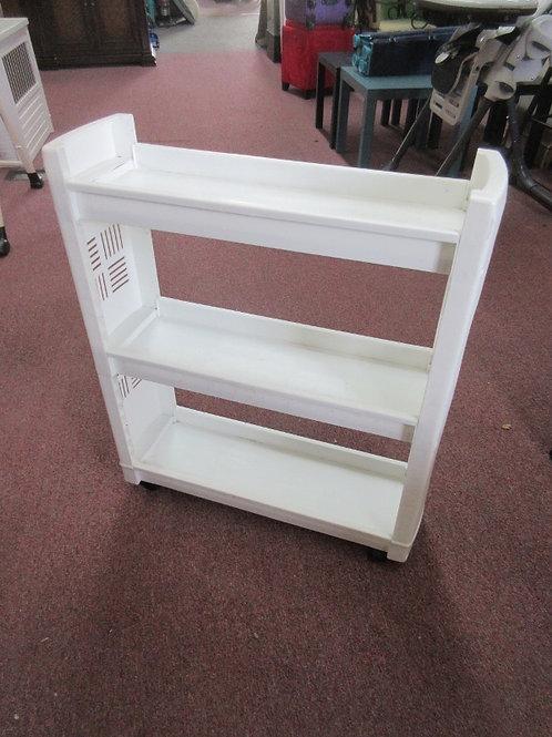 """White plastic 3 tier rolling storage shelf 8x25x31"""""""