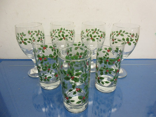 Holly design glassware set-8pieces,4 stemmed wine and 4 tumblers