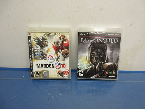 Set of 2 PS3 video games  Dishonored and Madden 10 w/Polamalu & Fitzgerald on fr