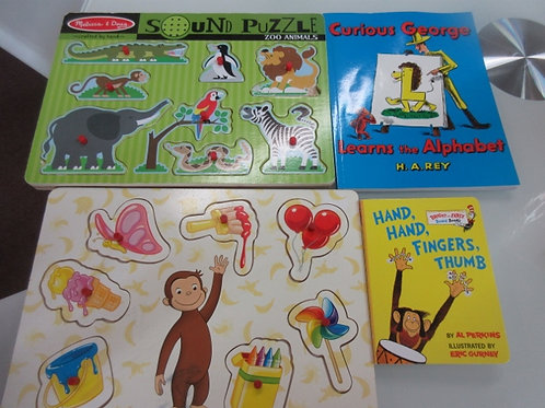Set of 2 Curious George books and 2 peg framed puzzles