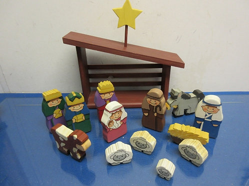 Wood block Nativity set, 14 pieces