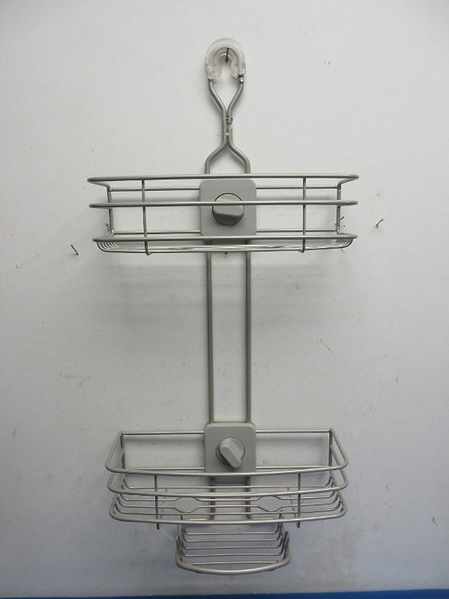 Silver metal hanging organizer with 2 adjustable shelves and soap holder