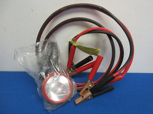 Jumper cable, red and black wires, plus spotlight, plugs into car lighter