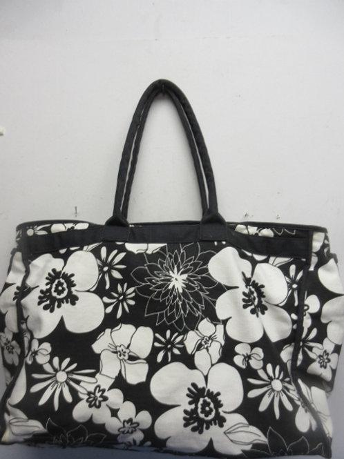 Large black & white floral tote bag