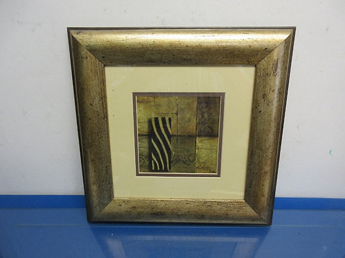 """Zebra pattern print with ivory mat and wide gold frame 14x14"""""""