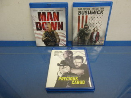"Pack of 3 action thriller blue-ray DVD'S ""Bushwack"", ""Precious Cargo"", ""Man Down"