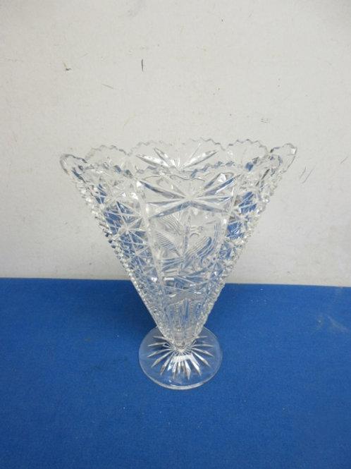 """Cut glass vase, 9"""" tall"""
