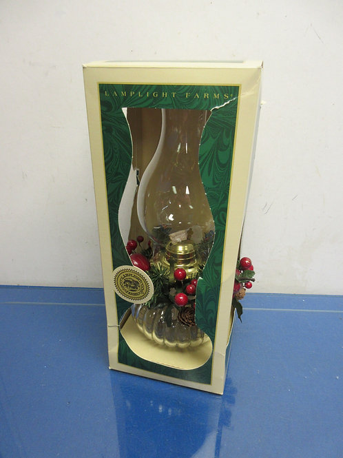 Traditional oil lamp with holiday decor-new in box