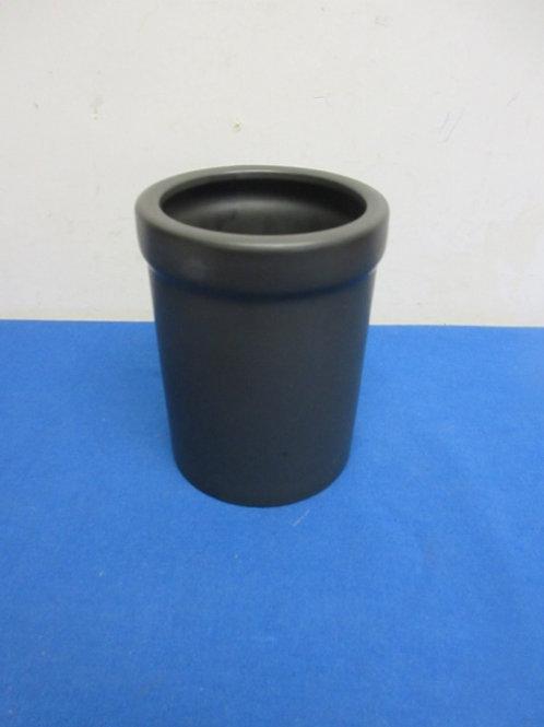 Gray stoneware wine bottle chiller or utensil holder