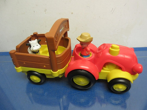 Little People tractor & trailor with farmer and cow