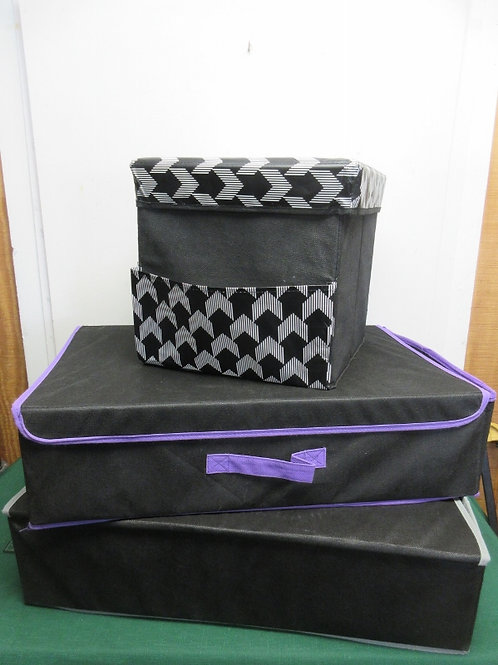 "Set of 3 fabric over cardboard folding storage boxes, 12x12x12"" & 2 are 15x23x6"""