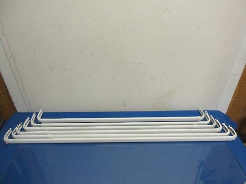 Set of 6 rectangular white curtain rods, no hardware