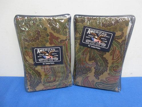 "American living pair of brown baxter paisley sheer panels, ea 52x84"" New, 3 pair"
