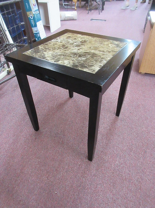 """Black square end table with faux marble inlay top, pull out drawer 20x20x22""""high"""