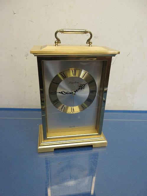 Linen Quartz heavy gold mantel style battery operated clock